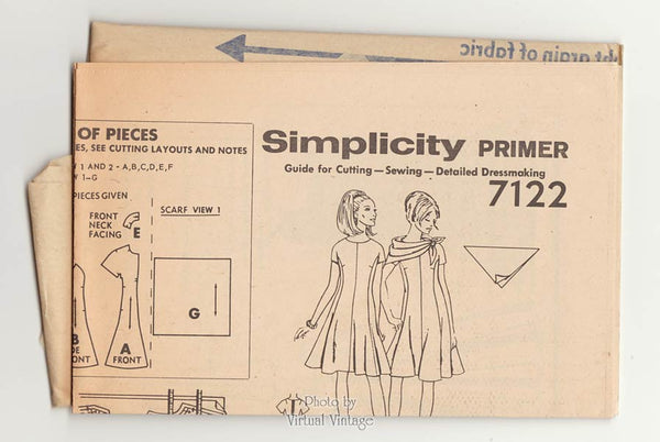 60s Flare Dress Pattern with Scarf, Simplicity 7122, Kimono Sleeve Mod Dress Sewing Pattern, Uncut