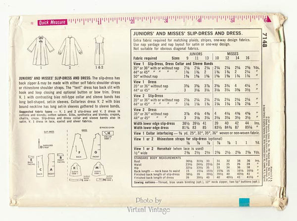1960s Slip Dress Pattern Simplicity 7148 Tent Dress Vintage Sewing Patterns Bust 36 Uncut