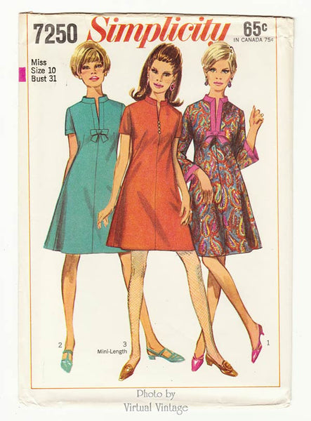 1960s A Line Mini Dress Pattern Simplicity 7250