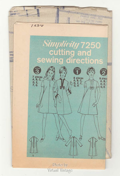 1960s A Line Mini Dress Pattern, Simplicity 7250 Uncut Vintage Sewing Patterns