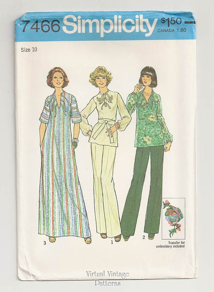 Simplicity 7466, Womens Top & Pants or Caftan Patterns
