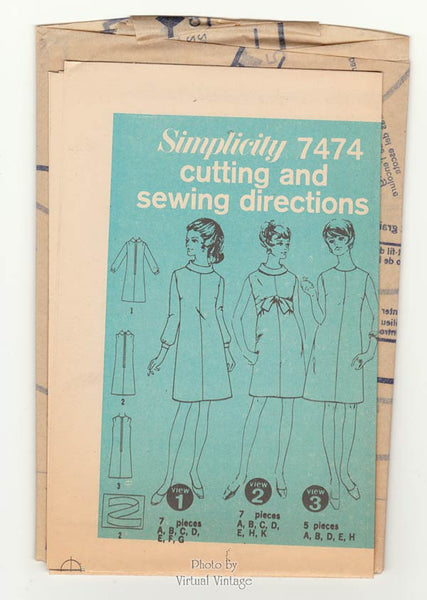 60s A Line Dress Pattern Simplicity 7474 Long Sleeve, Sleeveless Dress Vintage Sewing Pattern Uncut