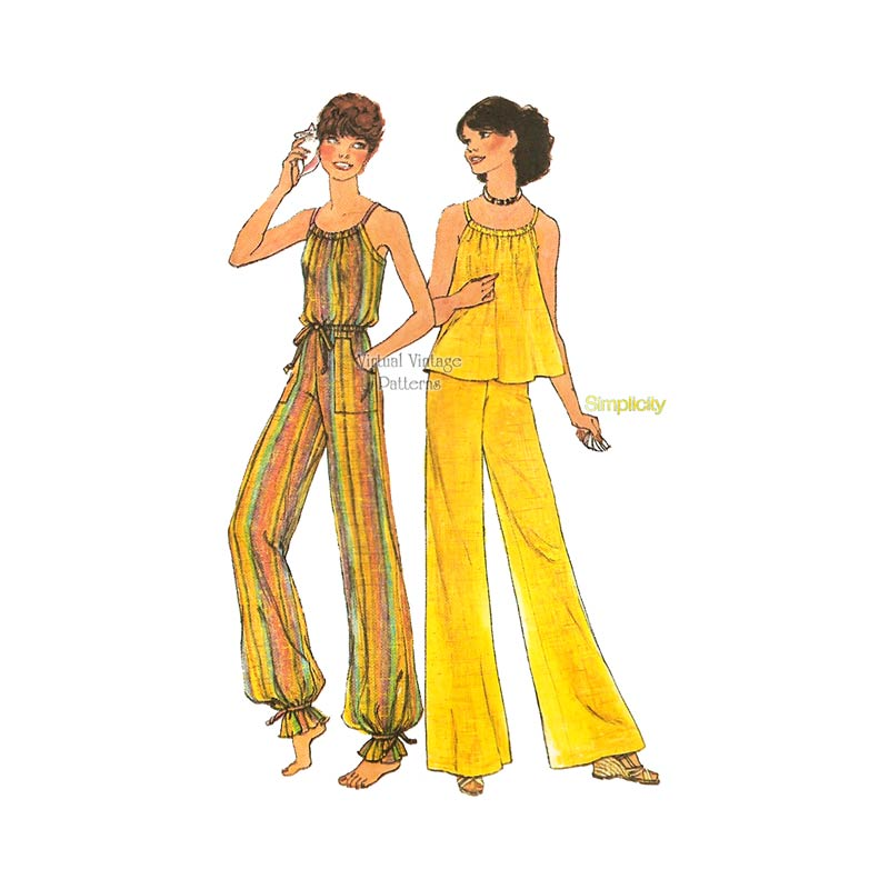 Vintage 1970s Sewing Patterns, Simplicity 7486, Halter Top & Wide-Leg Pants