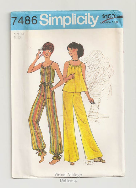 Simplicity 7486, Halter Top & Wide-Leg Pants Patterns