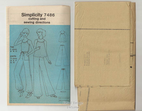 Vintage 1970s Sewing Patterns, Simplicity 7486, Halter Top & Wide-Leg Pants, Bust 38 Uncut