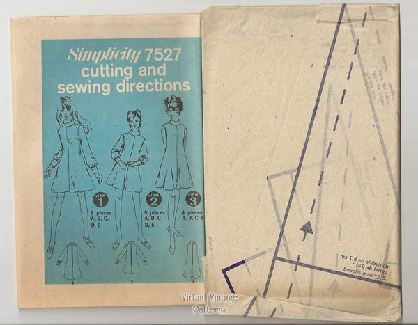 1960s Mini Dress Pattern, Simplicity 7527, Fit and Flare Dresses, Bust 38, Uncut