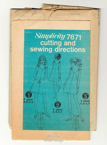 60s Sleeveless Mini Dress Pattern Simplicity 7671 Tie Shoulders, V Neck, A Line, Bust 38 Uncut