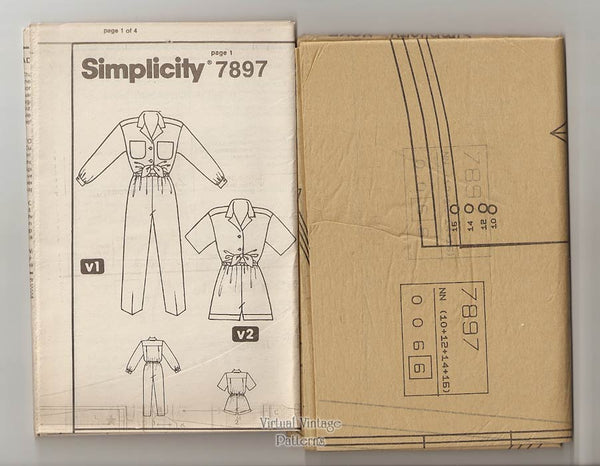 Womens Easy Romper Pattern, Simplicity 7897, Jumpsuit & Romper, Size 10 to 16, Uncut