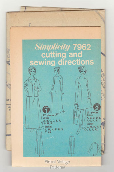 Vintage Princess Seam Dress Pattern, Simplicity 7962, 60s Evening Gown & Jacket Bust 35 or 39 Uncut