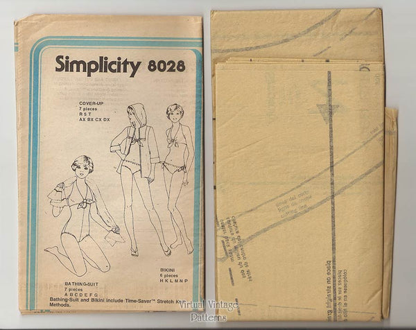 Vintage Swimsuit or Bikini Pattern, Simplicity 8028, with Hooded Cover-up, Bust 34, Uncut