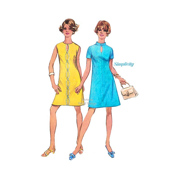 1960s Keyhole A Line Dress Pattern, Simplicity 8136