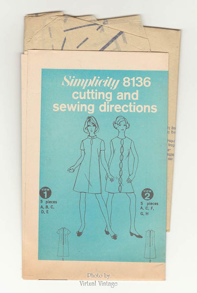 1960s Keyhole A Line Dress Pattern, Simplicity 8136, Vintage Sewing Patterns, Bust 34, Uncut