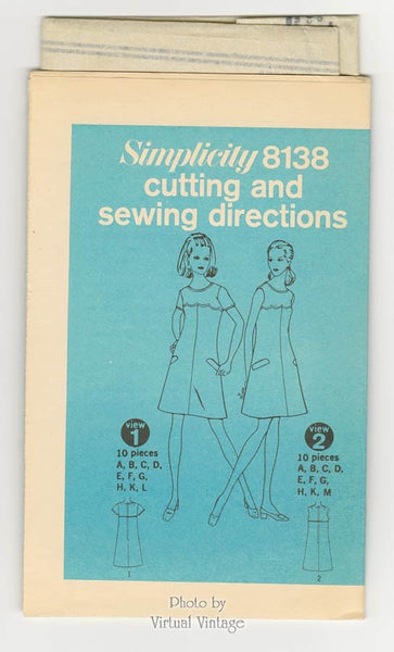 1960s Mod Shift Dress Pattern Simplicity 8138 A Line Sleeveless Dresses Bust 34