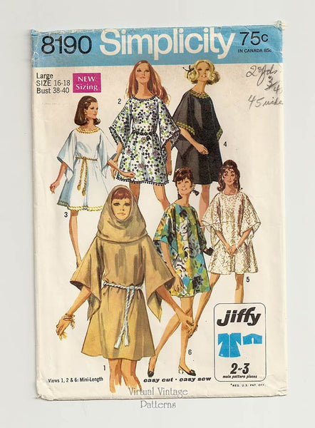 Simplicity 8190, Hooded Mini Tent Dress Pattern