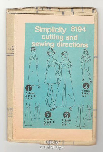 60s Pantdress & Bra Dress Pattern Simplicity 8194, Sleeveless Palazzo Jumpsuit, Bust 38
