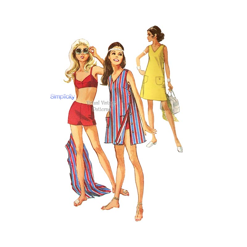 Retro Swimsuit Sewing Pattern, Simplicity 8251, Beach Dress, Mini Dress, Bra Top & Boyshorts