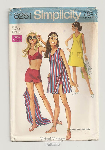 Simplicity 8251, Beach Dress & Retro Swimsuit Sewing Pattern