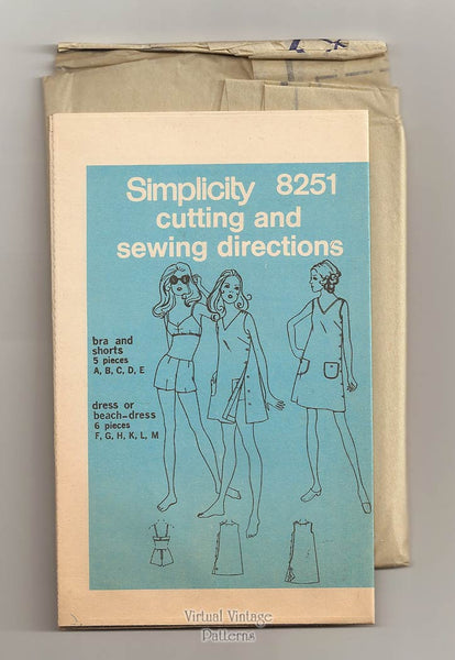 Retro Swimsuit Sewing Pattern, Simplicity 8251, Beach Mini Dress, Bra Top & Boyshorts Bust 38 Uncut