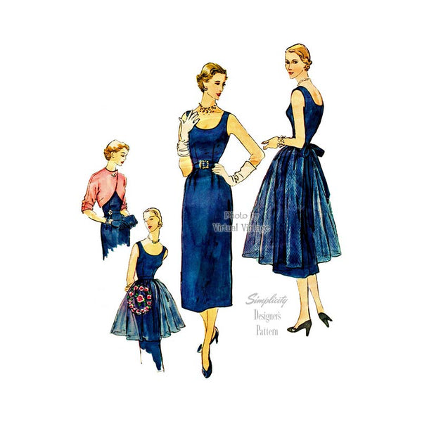 1950s Cocktail Dress Pattern, Simplicity Designers 8252