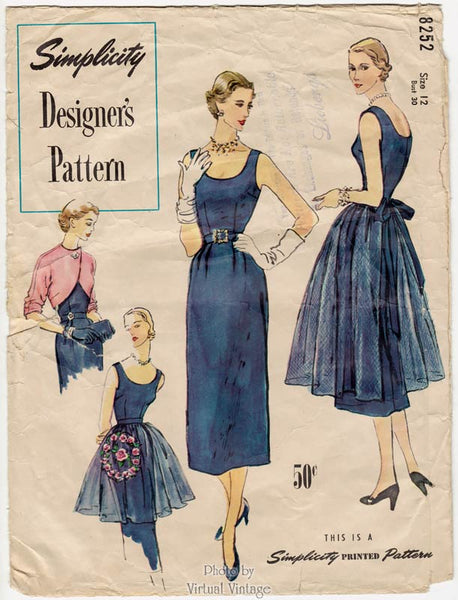 Simplicity Designers 8252, 1950s Cocktail Dress Pattern