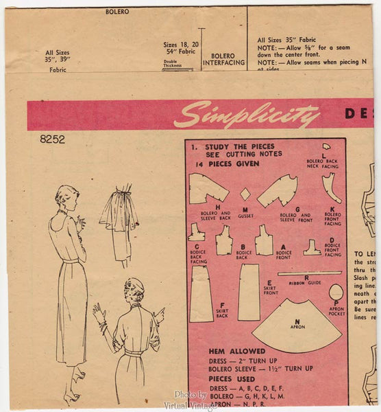 1950s Cocktail Dress Pattern, Simplicity Designers 8252, Sleeveless Sheath Dress, Bolero & Apron