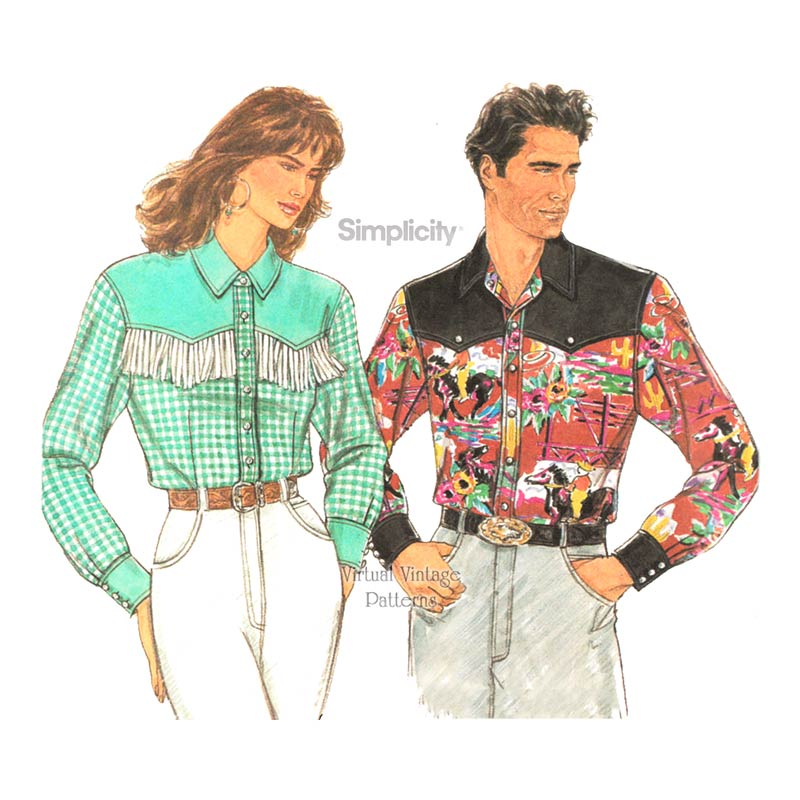 Mens or Womens Western Shirt Pattern, Simplicity 8262