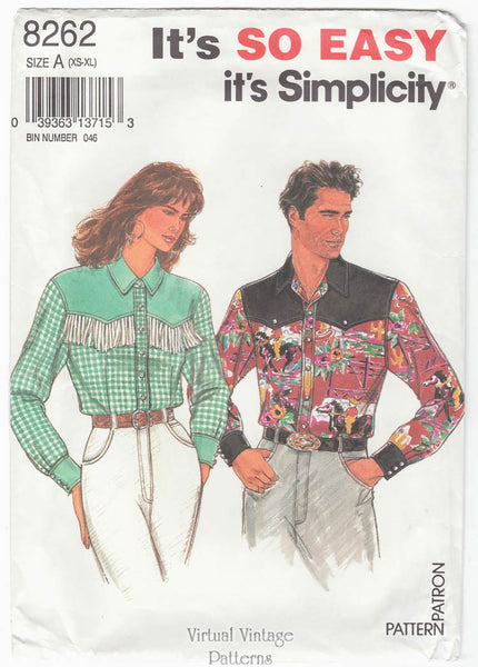 Simplicity 8262, Easy Sewing Mens or Womens Western Shirt Pattern