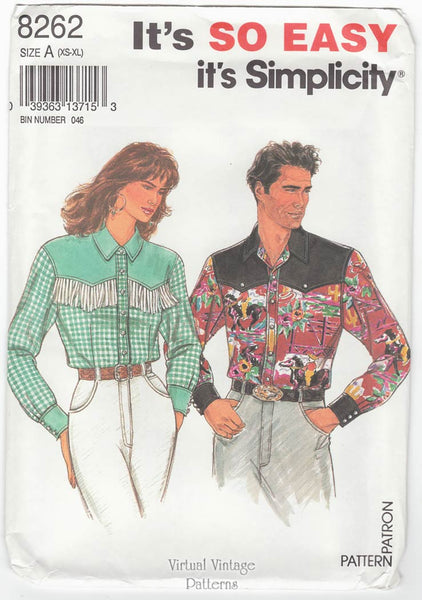 Simplicity 8262, Unisex Western Shirt Pattern, All Sizes