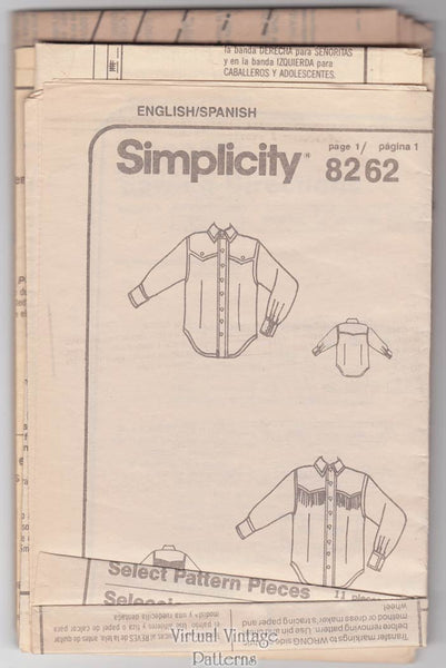 Mens or Womens Western Shirt Pattern, Simplicity 8262, Easy Sewing, XS to XL, Uncut