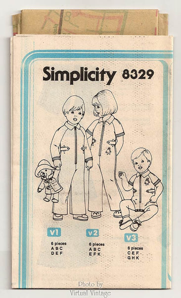 Baby Romper Pattern, Simplicity 8329, Jumpsuit with Paddington Bear, Size 6 months to 1 year, Uncut