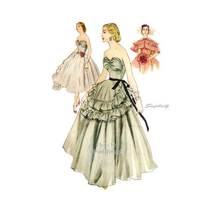 50s Strapless Ball Gown Pattern Simplicity 8446