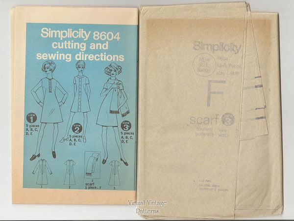 Petite A-line Dress Pattern, Simplicity 8604, Easy Sewing Dress & Scarf, Bust 38, Uncut