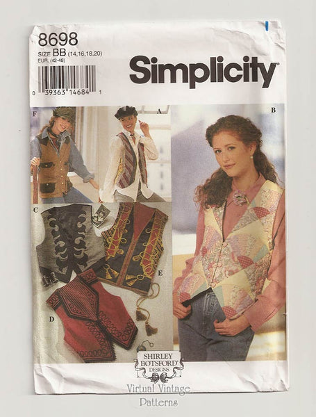Simplicity 8698, Womens Vest Pattern by Shirley Botsford