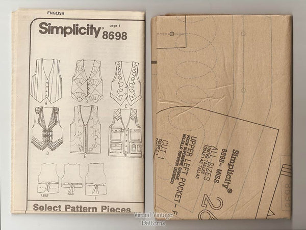 Simplicity 8698, Womens Vest Pattern by Shirley Botsford, Sizes 14, 16, 18, 20, Uncut