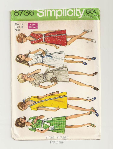 Simplicity 8736, Vintage Wrap Dress Pattern, Bust 34