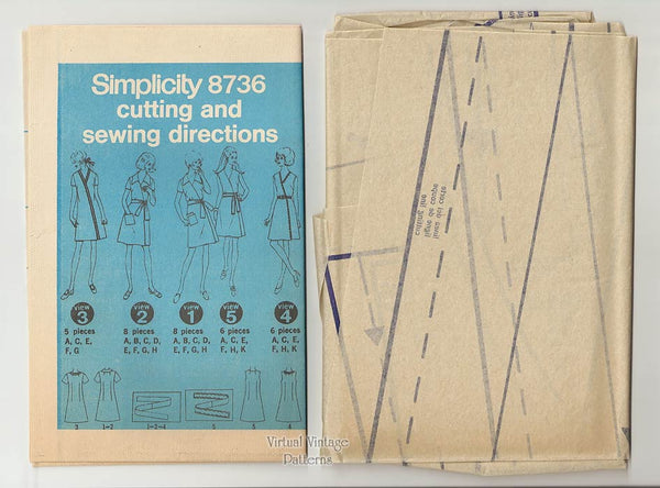 Vintage Wrap Dress Pattern, Simplicity 8736, 1970s Front Wrap Dress, Bust 34 or 38, Uncut