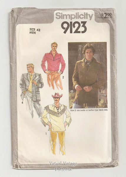 Simplicity 9123, Mens Western Shirt & Jacket Pattern