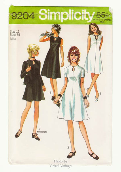 Simplicity 9204, 1970s Keyhole Neck Dress Pattern, Bust 34