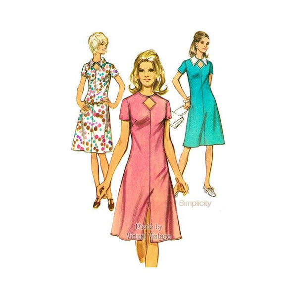70s Keyhole Dress Pattern Simplicity 9310