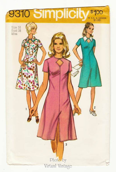 Simplicity 9310, 70s Keyhole Dress Pattern