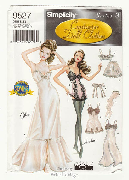 Simplicity 9527, Fashion Doll Clothes Pattern, Slip, Teddy, Bra & Panties