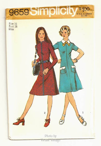 1970s Dress Sewing Pattern, Simplicity 9659 Long or Short Sleeve Dress with Pockets, Bust 38, Uncut