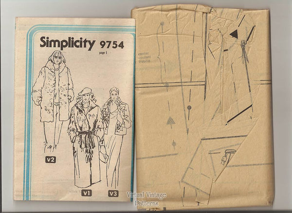 Winter Jacket Sewing Pattern, Simplicity 9754, Vintage Faux Fur Coat Pattern, Uncut