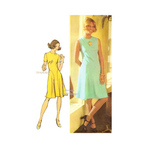 70s Fit and Flare Dress Pattern, Simplicity 9967