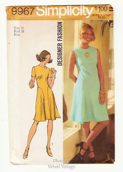 Simplicity 9967, 70s Fit and Flare Dress Pattern