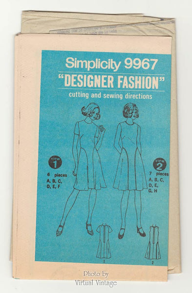 70s Fit and Flare Dress Pattern Simplicity 9967 Short Sleeve or Sleeveless Dress, Bust 38, Uncut