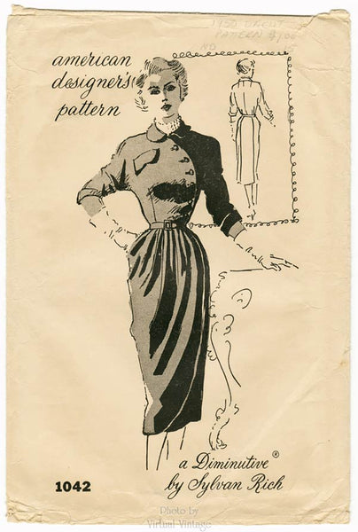 Spadea 1042, 50s Asymmetrical Dress Pattern, Bust 34