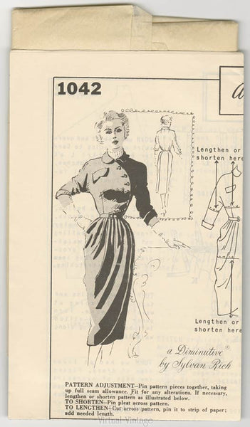 50s Asymmetrical Dress Pattern, Spadea 1042, Bust 34 Petite Dress Pattern by Sylvan Rich