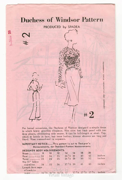 50s Spadea Pattern #2, Lace Top Slim Skirt Dress Sewing Pattern by Duchess of Windsor