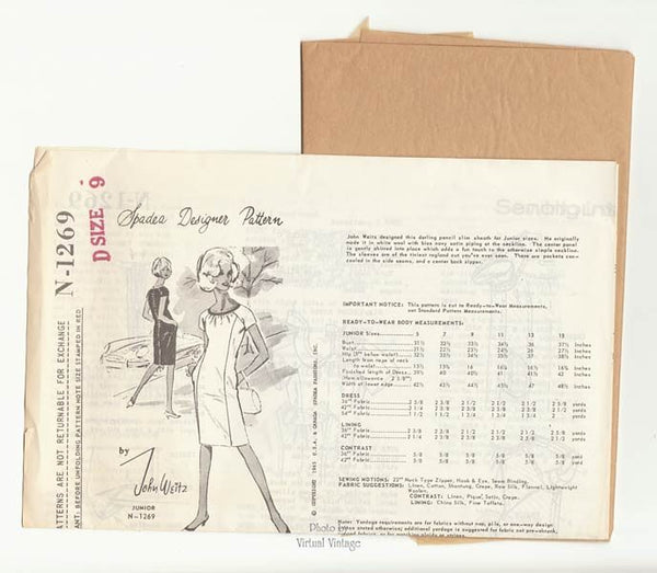 1960s Sheath Dress Pattern, Spadea N1269, John Weitz Pencil Dress Vintage Sewing Pattern, Uncut